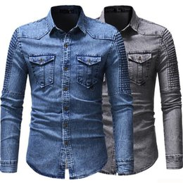 bcc0a896ddc Korean Boys Denim Shirt Men Plus Large Size Cotton Jeans Two-pocket Design  Fashion Slim Fit Long Sleeve Man Shirts Blue Denim Blusa long shirts designs  ...