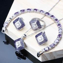 Femmes Ensembles De Mariage De Mariage Violet Zircon Cubique Argent 925 Bijoux Bracelet Bague Boucles D'oreilles Collier Ensemble Pour La Fête De Mariage ? partir de fabricateur