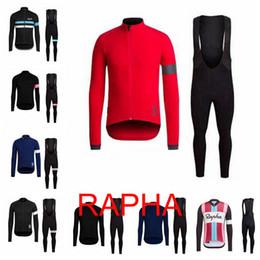 Conjuntos de ciclismo para hombre online-Rapha team Ciclismo manga larga jersey (babero) conjuntos de pantalones Primavera y otoño Ciclismo transpirable Ropa de ciclismo para hombre E1427