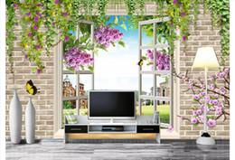 décorations murales de fleurs papier peint 3d Promotion Gros-Custom 3d soie photo murale papier peint moderne minimaliste fenêtre fleur paysage TV canapé fond sticker mural décoration