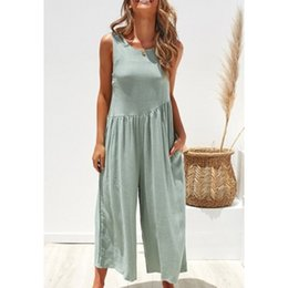 комбинезоны женские дамские Скидка Summer Women Wide Leg Solid Jumpsuit Sexy Sleeveless Backless Jumpsuits Ankle-Length Pants Loose Office Lady Rompers with Pocket