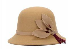 c312e4c41de European and American British style ladies hats autumn and winter warm  imitation wool felt hat fashion leaf flower hat