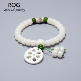lotus seed wholesale Promo Codes - White Bodhi Seed Beaded Bracelets For Women Lotus Root Charm Bracelet Barrel Shape Chinese Traditional Bracelet Femme