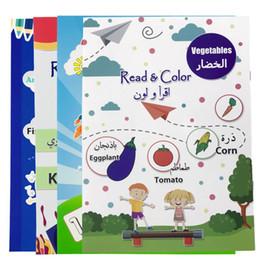 2019 bambini di carta graffi Bambini arabo Coloring Learning prescolare pittura Numbers Libri Arte formazione frutta Animal Disegno del Libro per Ragazzi precoce Education Set