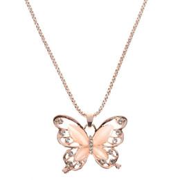Papillon à longue chaîne en Ligne-Rose Or Opale Papillon Pendentif Collier Cristal Creux Long Collier Femmes Mode Lady Chandail Chaîne Cadeau Charme