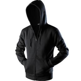 Tops negros lisos online-New Plain Mens Zip Up Hoody Jacket Sudadera con capucha Cremallera masculina Top Prendas de abrigo Negro Gris Boutique hombres Envío gratis