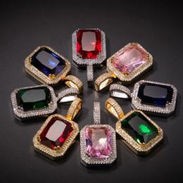 pendente rosso della pietra preziosa Sconti Collana hip-hop di gioielli da uomo Collana con gemme di moda Collana di pietre preziose rosa rossa con catena a spirale da 3mm * 24inch