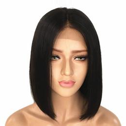 2019 penteados para franjas médias cabelo encaracolado fechamento Bob Lace perucas de cabelo humano com bebê cabelo Pré arrancada 4 * 4 Liso Curto Bob hd Lace Wig da Mulher Negra