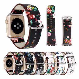 orologi stampati floreali Sconti Cinturino in pelle stampata floreale per cinturino iwatch 42mm / 38mm Bracciale a forma di fiore con retro fiore per cinturino Apple Watch 4/3/2/1