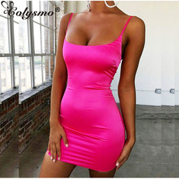 layered dresses Coupons - Colysmo Stretch Satin Mini Dress Women Sexy Straps Slim Fit Bodycon Party Dress Neon Green Pink Dual-layered Robe Femme