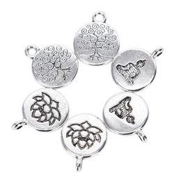 23-47mm silver charms pendants Tibetan 6pcs Different tree of life Antique