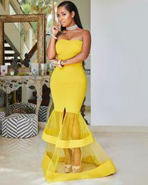 Vestido sin tirantes negro raja online-Sexy sirena africana vestidos de baile Front Slit Tiered Black Girls Sweetheart Strapless Vestidos de noche simples Vestido de cóctel barato