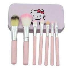 7 Unids / set Hello kitty Kit de Pinceles de Maquillaje Cosmético Estuche de hierro rosado Artículos de tocador de belleza maquillaje cepillo DHL LIBRE de envío al por mayor desde fabricantes