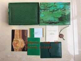 Relógio de madeira de alta qualidade on-line-Luxo Top venda de Alta Qualidade Relógio Verde Original Caixa De Madeira Caixas De Cartão Para Perpétuo 116660 116610 Cosmograph Relógios