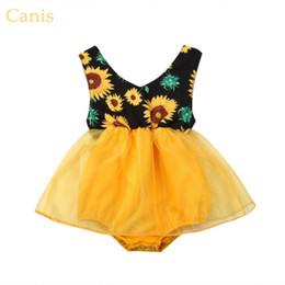 Repartir vestidos online-Hot Deal Summer Baby Girl Girasol Mameluco mono Body Princesa Princesa Vestido de fiesta Vestidos de moda Casual