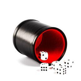 Favor de fiesta de cuero online-PU dados Copa juego de tamices Copas del multicolor abrasión franela Partido juguete del juego de partido de la barra resistente a favor de la taza de dados ZZA1210