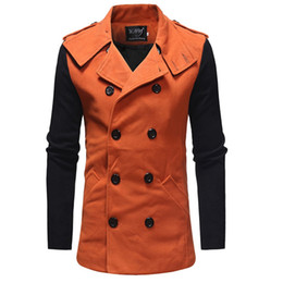 Abrigos de lana largos baratos online-Brand Cheap Winter Long Trench Coat Men Good Guality Double Breasted Wool Blend Overcoat para