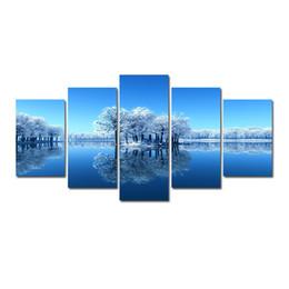 Pittura ad albero blu cielo online-5 Pz Combinazioni HD Fantasy Blue Sky Specchio lago Alberi Modello Senza Cornice Tela Pittura Decorazione Della Parete Stampata Pittura A Olio poster
