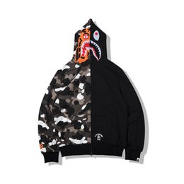Günstige neue Hoodie Männer ein Baden AAPE Ape Shark Hoodie Mantel Camo Full Zip Jacke Camouflage Hoodies Hot Cardigan. von Fabrikanten
