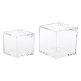 baby shower favor clear boxes Promo Codes - Transparent Cube Wedding Favor Candy Box Plastic Transparent Clear Gift Boxes Christmas Baby Shower