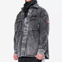 2020 männer grau jacke denim Neueste 19SS Cav Empt Make Gewaschene graue Denim-Hemd Jacke Einreiher beiläufige Jacken Mode Oberbekleidung Männer Frauen Straße Jacke HFHLJK016 günstig männer grau jacke denim