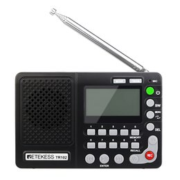 2019 minuterie de lecteur mp3 Retekess TR102 Portable Radio FM / AM / SW mondiale Band Récepteur Lecteur MP3 Recorder REC avec Sleep Timer FM Radio Recorder