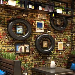 3d papel de parede tijolo Bar alfabeto Graffiti Wallaper Quarto Fundo da parede industrial Restaurante Retro Nostalgic Loft Internet de Fornecedores de tamanho da imagem da escola