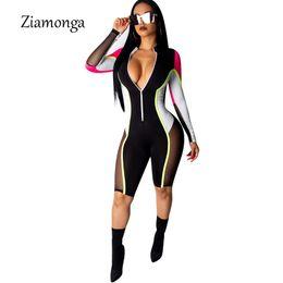 2019 mulheres vestindo uniforme de enfermeiras Ziamonga Bodycon Sexy Jumpsuit Shorts Para As Mulheres de Manga Longa Macacão de Fitness Mulheres Macacão Feminino Streetwear Playsuit Mulheres