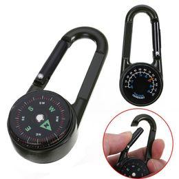 Termômetro de caminhada ao ar livre on-line-Multifuncional Mini 3in1 Carabiner Compass Termômetro Key Anel Gancho KeyChain Outdoor Camping Caminhadas Sobrevivência Ferramenta MMA2037-1