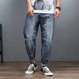 Idopy Fashion Men's Brand Designer Slim Fit Striped Jeans Stretch Denim Pants Blue Vintage Washed Jean Trousers For Male от
