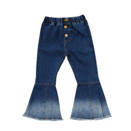 Baby glockenunterseiten- online-Kleinkind Baby Kinder Mädchen Denim Bell Bottom Hosen Jeans Breite Beinhosen Lässig Täglich Kinder Mädchen Hose Kleidung Boot Cut