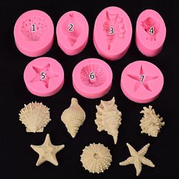 Conchas de mar perlas online-Molde de silicona Jabón de cupcake Pastel de silicona Pasta de azúcar Muffin Para hornear Perla Concha Estrella de mar Concha de mar Resistente al calor Reutilizable Moldes para pastel de silicona