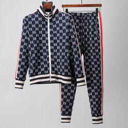Chaqueta de diseño slim fit online-2019 diseñador de la marca trajes de los hombres de moda patrón impreso Slim Fit chándales para hombres chaqueta de cremallera Cardigan chándales tamaño M-2XL