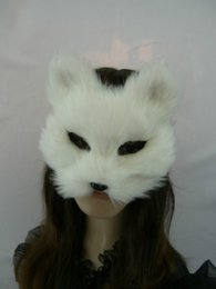 white male full face mask Promo Codes - Male and Female Full Face White Cat Face Masquerade Christmas Mask