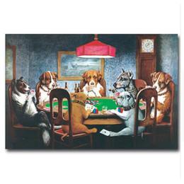 2019 imagens de funny art Arte da parede Cães Jogando Poker Cartões de Arte da lona da lona de parede pintura Engraçada Pictures Home Decor cartazes e cópias desconto imagens de funny art