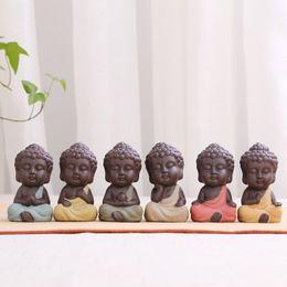 300pcs Home Decor Ensemble De Thé Petite Statue De Bouddha Moine Pourpre Sable Céramique Figurine Arts Résine Artisanat Viande Ornement Pur Main ? partir de fabricateur