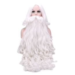 santa beard wigs Coupons - Christmas Gift Santa Claus Wig and Beard Synthetic Hair Short Cosplay Wigs for Men White Hairpiece Accessories Santa Beard 70cm