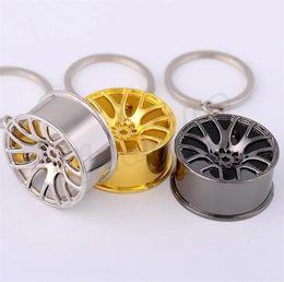 Roda de ligação on-line-Criativo Cubo de Roda de Metal Roda de Carro Chave Anel Chave Chave de Ligação Automotiva Pingente de presente acessórios pingentes decorativos T5C6013