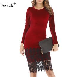 Szkzk Lace Velvet Dress Donna New 2019 Primavera Casual Party Vestidos manica lunga O Collo Vino Rosso Verde Nero Midi Vestito aderente da