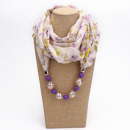 chiffon neckerchiefs Promo Codes - Ethnic Style Print Scarf Acrylic Beads Scarf Necklace For Women Soft Chiffon Scarves Neckerchief Autumn and Winter Jewelry Bohemian