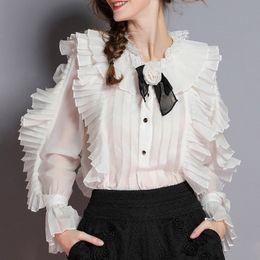 camicette di fiori primaverili Sconti Elegante donna primavera camicetta camicetta fiore collare flare manica lunga patchwork pizzo Top Tops 2019 Primavera