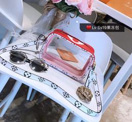 Borse trasparenti di colore online-Borse a tracolla trasparenti trasparenti in pvc donne lettera lettera gelatina caramelle donne borsa a tracolla messenger donne piccole borse portafoglio