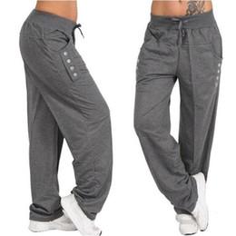 2019 más el tamaño de las mujeres pantalones holgados harén Pantalones holgados de moda para mujer Pantalones casuales Pantalones holgados con cordón S-5XL Pantalones holgados de talla grande Pantalones de mujer de talla grande más el tamaño de las mujeres pantalones holgados harén baratos