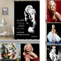 2019 rideaux blanc noir rouge Usage domestique Marilyn Monroe Custom Polyester Imperméable Bain Baignoire lave Rideau de douche Rideau Rideaux Salle De Bains Accessoires Taille180x180cm