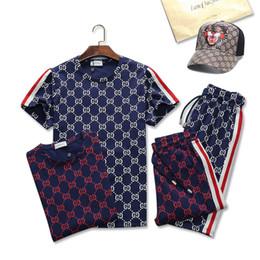 Roupas de badminton on-line-Marca Sweatshirt dos homens de Roupas de Grife dos homens de Luxo Sportswear Jaqueta Set Execução Definir Moda Ginásio Abelha Imprimir ternos de suor