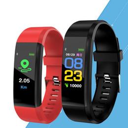 montre en cours d'exécution mp3 Promotion Pomme Écran Couleur ID115 Plus Bracelet Intelligent Fitness Tracker Pedometer Watch Band Tensiomètre Moniteur de Pression Artérielle Bracelet Intelligent
