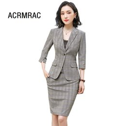 Summer Novelty Grey Formal Women Business Suits With Pants