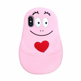 Capas de telefone de sorriso on-line-Para iphone xr xs max x 10 8 7 plus 6 6 s 3d barbapapa macio silicone case amor coração sorriso dos desenhos animados designer de luxo de borracha telefone cobre