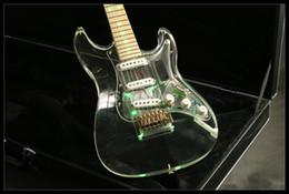 Canada JEG6053L Guitare électrique LED Couleur verte Acajou Cou Corps Acrylique Corps Alnico Micros Or Matériel Offre