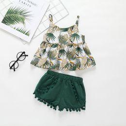Baby Girl Clothing Conjuntos de verano Camisa de hoja verde + conjuntos de ropa corta 100% algodón conjuntos de ropa de niña Lolita desde fabricantes